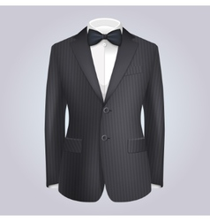 Male Clothing Stiped Dark Suit with Bow Tie vector