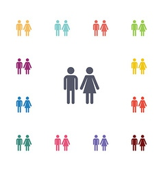 man and woman flat icons set vector image
