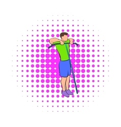 Man exercising on cable machine icon comics style vector image