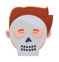 Man with halloween skull mask vector
