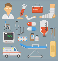 Medical icons set care ambulance hospital vector