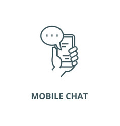 mobile chat line icon linear concept vector image