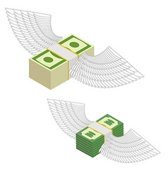 Money with wings Bundles of money flying around vector image