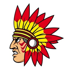 Native indian people with feathers vector image