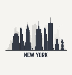 New York black line view copy vector image