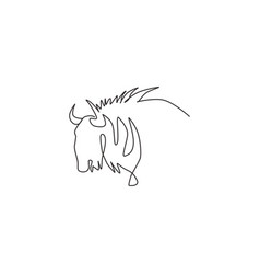 One continuous line drawing stout wildebeest vector