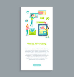 online advertising using mobile phone and internet vector image