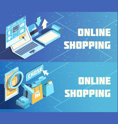 online shopping isometric banners vector image