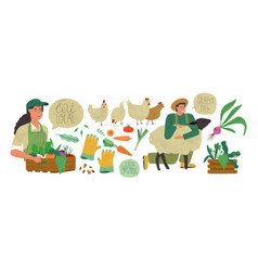 Organic farm production set agriculture people vector