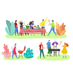 people at barbecue party outdoor happy friends vector image