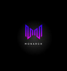 Purple magenta m logo m letter icon design vector