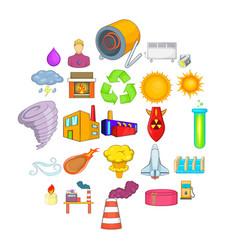 renewable energy icons set cartoon style vector image