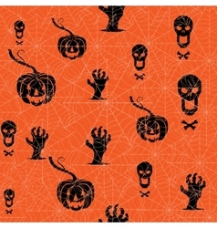 Seamless Halloween background Pumpkin skull and vector image