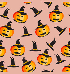 seamless halloween pattern halloween pumpkin vector image