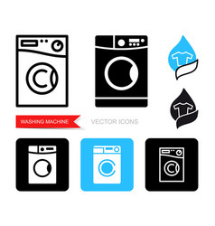 set contour and silhouette washing machine vector image