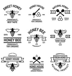 set honey labels template bee icons design vector image