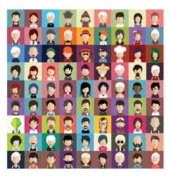 Set of people icons in flat style with faces 03 b vector image