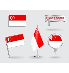 Set of Singapore pin icon and map pointer flags vector