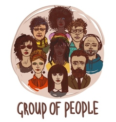 Sketch group of people vector