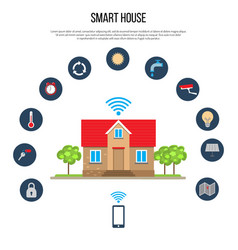 Smart house concept with smartphone control vector