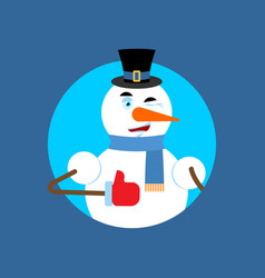 snowman thumbs up winks emoji new year and vector image