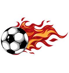 soccer ball on fire design vector image