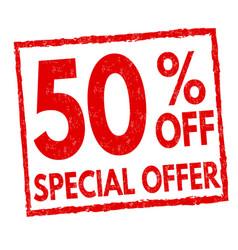 special offer 50 off grunge rubber stamp vector image