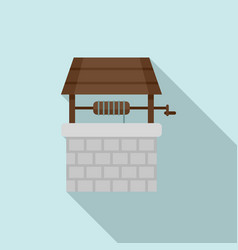 Stone water well icon flat style vector