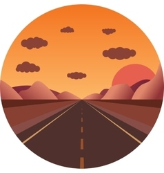 Straight road towards the sunset in the mountains vector