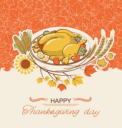 Thanksgiving day card with roasted turkey dish vector image