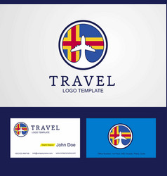 Travel aland creative circle flag logo and vector