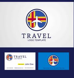 Travel aland creative circle flag logo vector