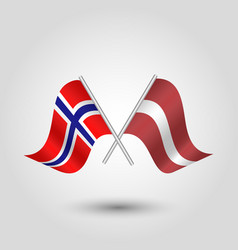 Two crossed norwegian and latvian flags vector