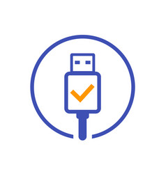 Usb charging complete icon vector