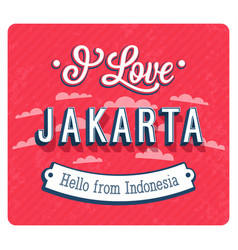 Vintage greeting card from jakarta vector