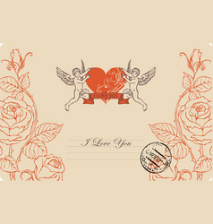 vintage greeting card with cupid heart and roses vector image