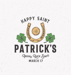 vintage style saint patricks day logo or label vector image