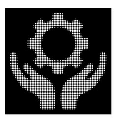 white halftone gear maintenance hands icon vector image