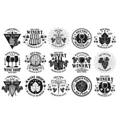 Wine shop and winery set emblems vector