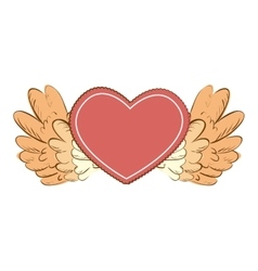Wing love heart icon vector