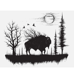Abstract buffalo walking in the strange forest vector image
