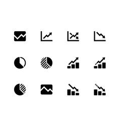 Line chart and Diagram icons on white background vector image vector image