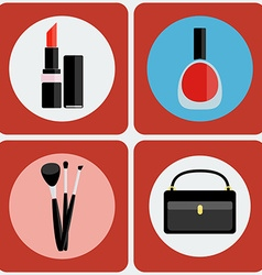 Make up tools colorful icon set vector image