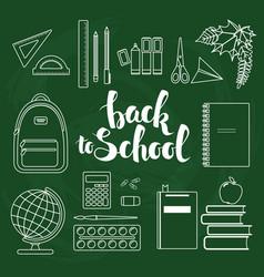 Set of linear school items vector