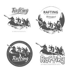 Vintage rafting canoe and kayak labels vector image