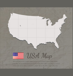 vintage usa map paper card map silhouette vector image