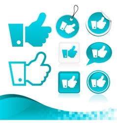 Blue Like Hand Design Kit vector image vector image