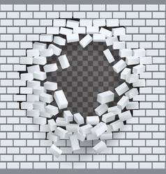 Break hole in brick wall destruction template vector