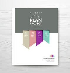 Cover report present colorful ribbon year plan vector image vector image