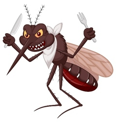 Mosquito cartoon ready for eat vector